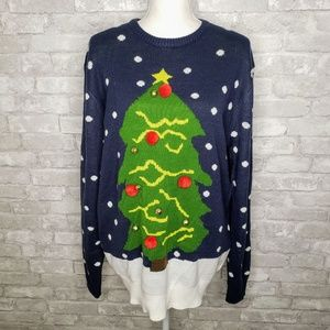Divided H&M Christmas Tree and Snow Ugly Sweater M